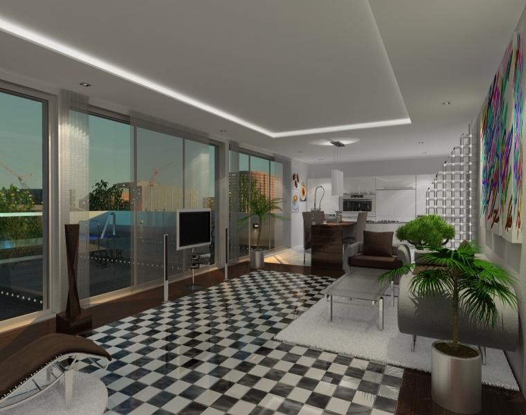 3D-Visualisierung-Wohnzimmer